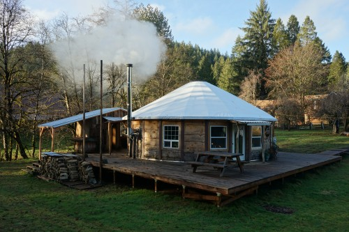 30ft Custom Built Wooden Frame Panel Yurt with Loft, incl. deck, bathhouse & outdoor kitchen