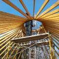 Yurt rafters and scaffolding.