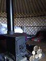 We have a basic wood burner in the Yurt.