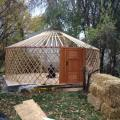 Squarish platform with yurt frame.