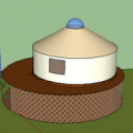 3d yurt plan w living space/storage below