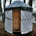 This is my chicken yurt. I built it after moving back to civilization, I missed my yurt so much :D (The plan is to use it out at the yurt as a saw...